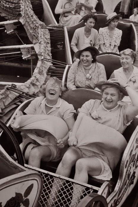 old women on carnival having fun lol in attractie