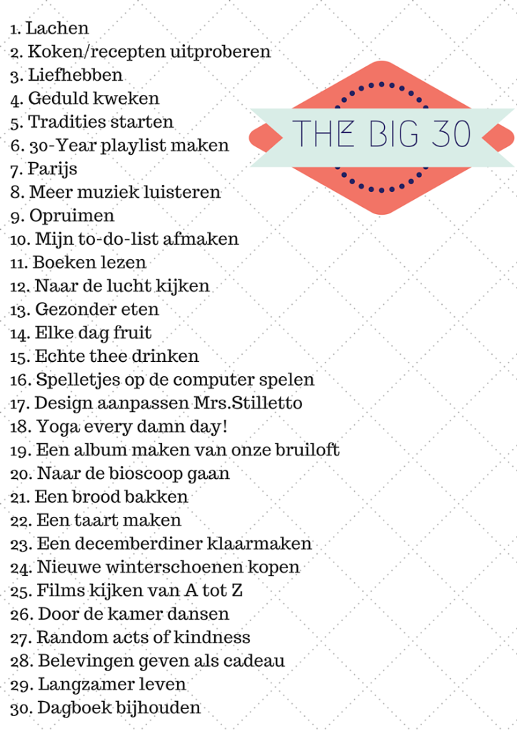 30 Things to do in your thirties list